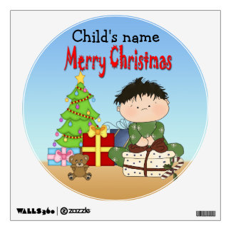 Christmas Toddler Boy Round Wall Decal