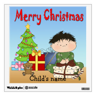 Christmas Toddler Boy Square Wall Decal