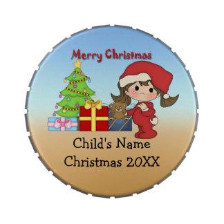Christmas Toddler Girl Giant Round Candy Tin