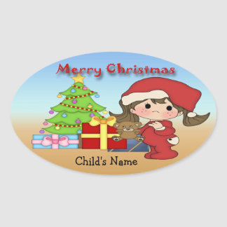 Christmas Toddler Girl Oval Stickers