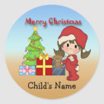Christmas Toddler Girl Round Stickers
