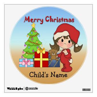 Christmas Toddler Girl Round Wall Decal