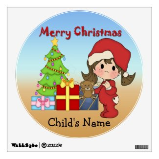 Christmas Toddler Girl Round Wall Decal