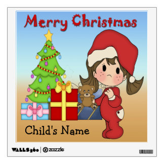 Christmas Toddler Girl Square Wall Decal