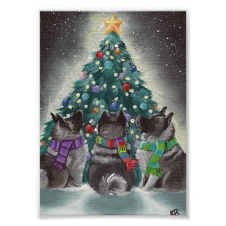 """Christmas Together"" Norwegian Elkhounds Amy Bolin Poster"