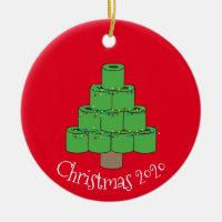 Christmas Toilet Paper Tree Covid  2020 Ceramic Ornament