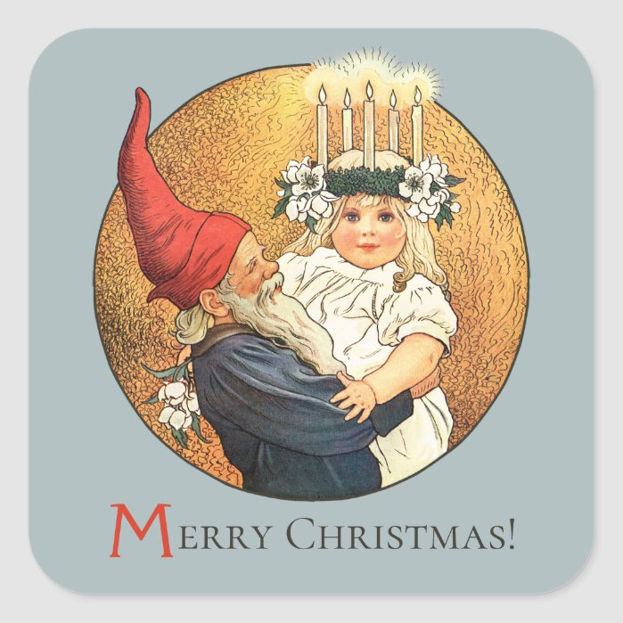 Christmas Tomte and sweet little Lucia girl CC1186 Square Sticker