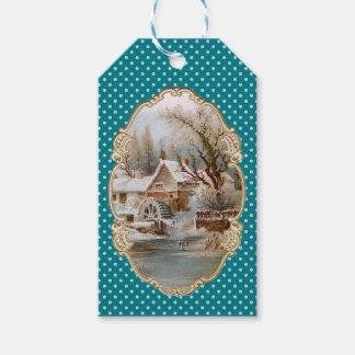 Christmas Town, Blue Polka Dot, Snowy, Holidays Gift Tags