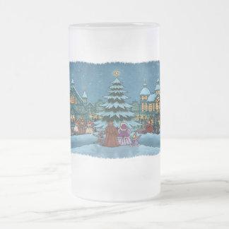 christmas town frosted glass mug