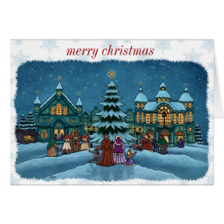 christmas town greeting card snowy edge