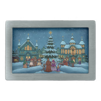 christmas town holiday belt buckle