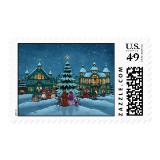 christmas town holiday stamps
