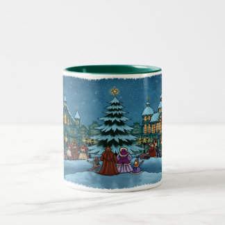 christmas town mug two tone