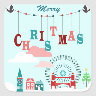 Christmas town square sticker