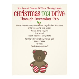 Christmas Toy Drive Striped Bear Flyer