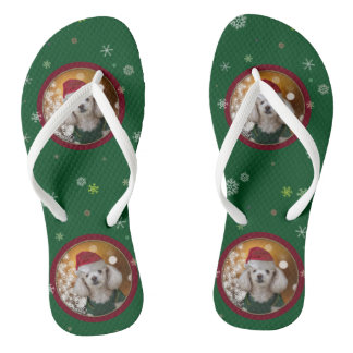 Christmas Toy Poodle Flip Flops