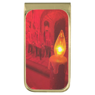Christmas Toy Soldiers And Candle Gold Finish Money Clip