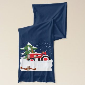 Christmas Tractor in Snow Tree with Lights Scarf