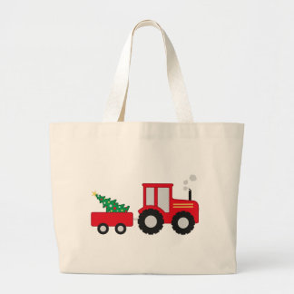 Christmas Tractor Large Tote Bag