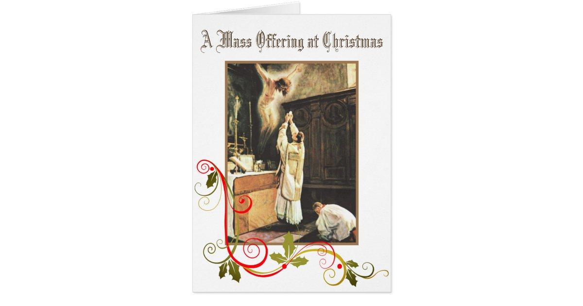 Christmas Traditional Catholic Mass Offering Card | Zazzle.com