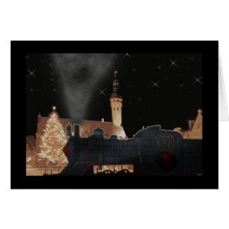 Christmas train black black border greeting card