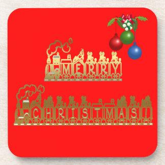 Christmas Train Cork Coaster