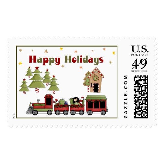 Christmas Train Holiday Postage
