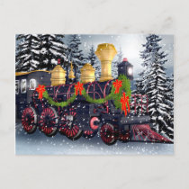Christmas train holiday postcard