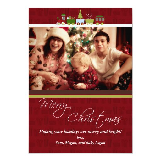 Christmas Train Photo Christmas Card Personalized Invite