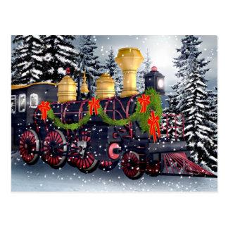 Christmas train postcard