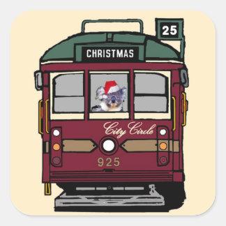 Christmas Tram Square Sticker