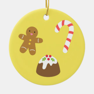Christmas Treats, Gingerbread Man, Candy, Pudding Ceramic Ornament