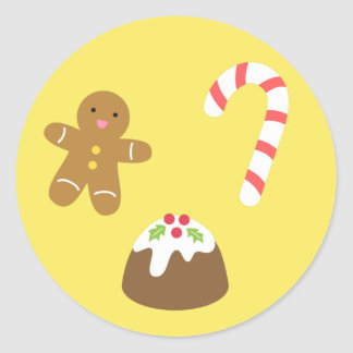Christmas Treats, Gingerbread Man, Candy, Pudding Classic Round Sticker
