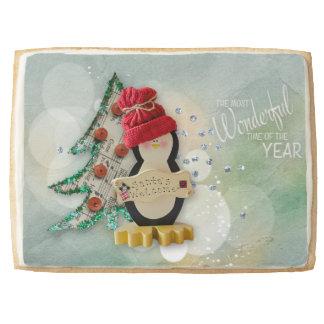 Christmas Treats Penguin with Word Art Jumbo Shortbread Cookie