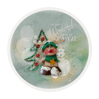 Christmas Treats Reindeer with Word Art Edible Frosting Rounds