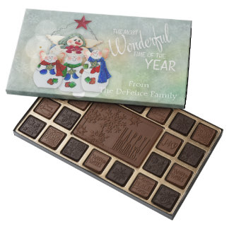 Christmas Treats Snow Family with Word Art 45 Piece Box Of Chocolates