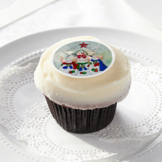 Christmas Treats Snow Family with Word Art Edible Frosting Rounds