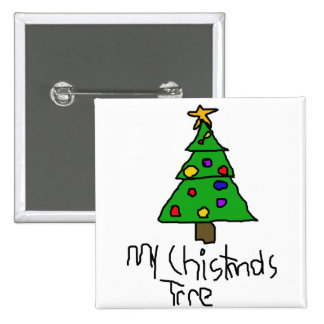 Christmas Tree 2 Inch Square Button