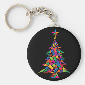 christmas tree abstract basic round button keychain