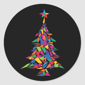 christmas tree abstract round sticker