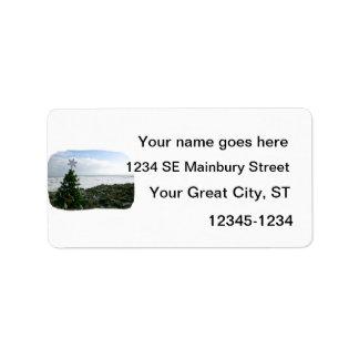 Christmas Tree Against Beach Rocks Address Label