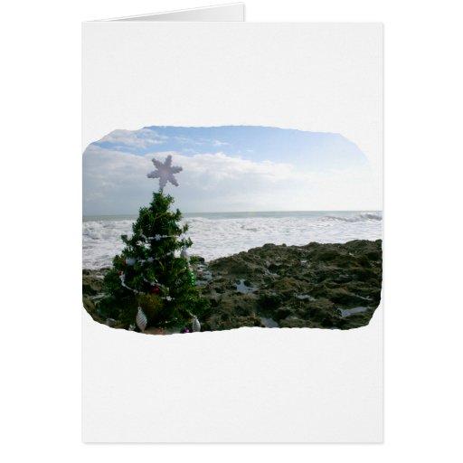Christmas Tree Against Beach Rocks Card