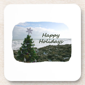 Christmas Tree Against Beach Rocks Happy Holidays Drink Coaster