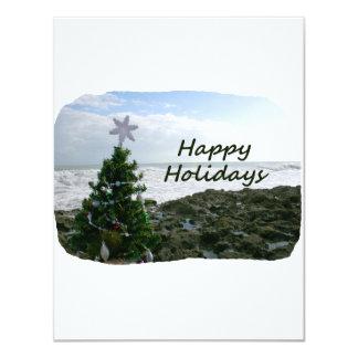 Christmas Tree Against Beach Rocks Happy Holidays 4.25x5.5 Paper Invitation Card