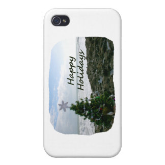 Christmas Tree Against Beach Rocks Happy Holidays iPhone 4/4S Cover
