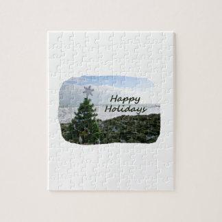 Christmas Tree Against Beach Rocks Happy Holidays Jigsaw Puzzle