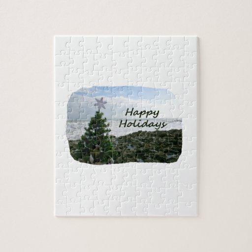 Christmas Tree Against Beach Rocks Happy Holidays Jigsaw Puzzles