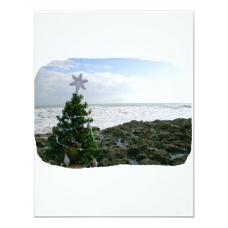 Christmas Tree Against Beach Rocks 4.25x5.5 Paper Invitation Card