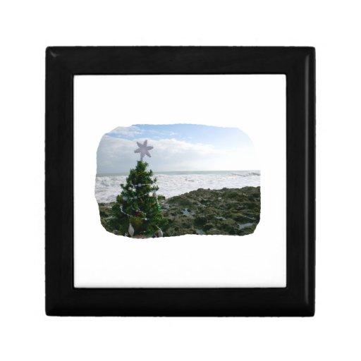Christmas Tree Against Beach Rocks Keepsake Box