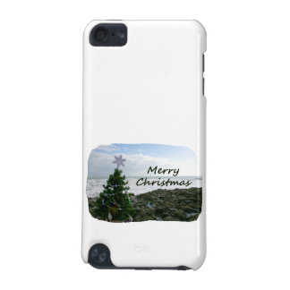 Christmas Tree Against Beach Rocks Merry Christmas iPod Touch 5G Covers